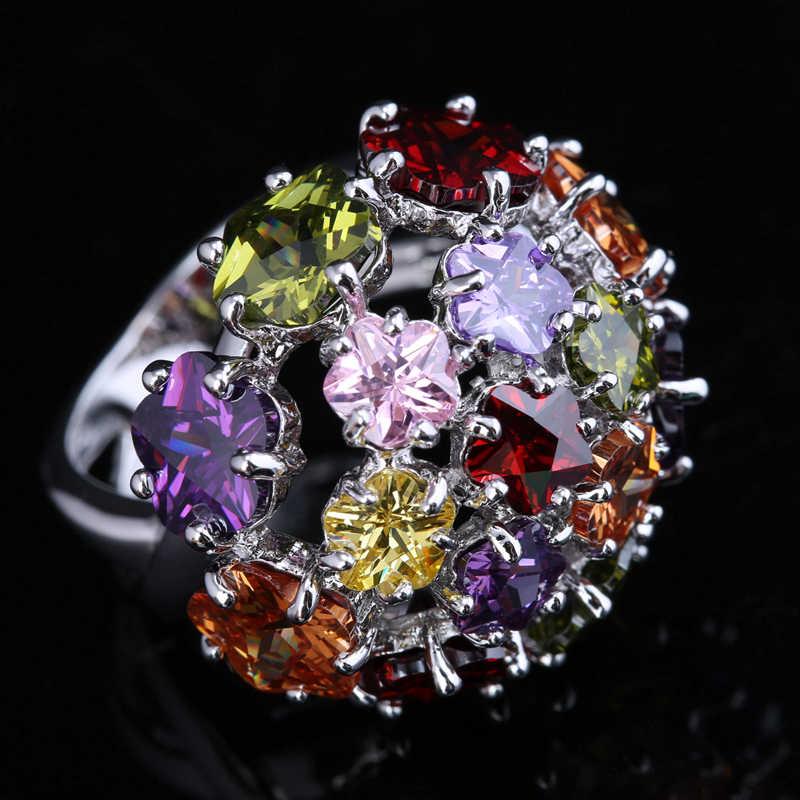 2016 Fashion Flowers Heart Shape Multicolor Morganite Garnet Women's Party Jewelry 925 Sterling Silver Rings Size 6 7 8 9 S1411