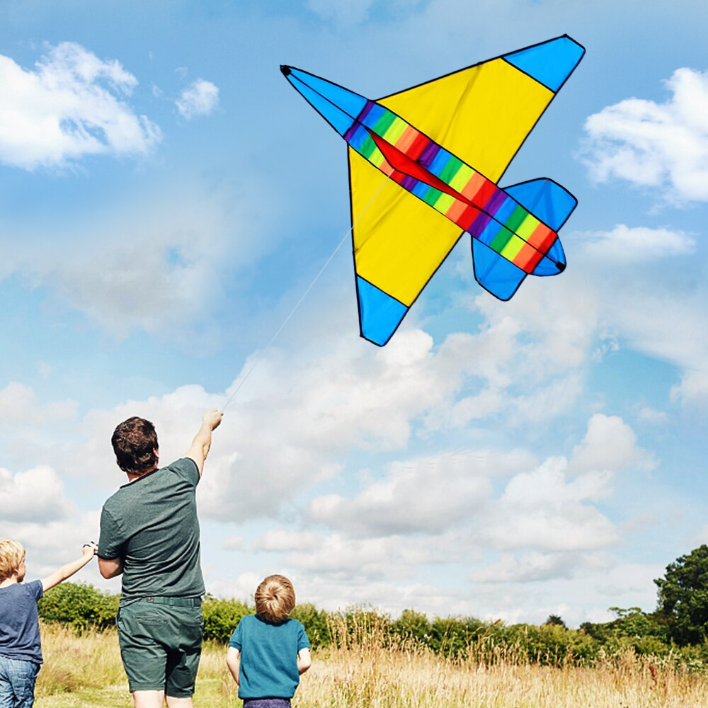 Colorful Cartoon Airplane Kite Outdoor Sport Single Line Flying Kite With 30m Flying Line For Kids Adults Kite Family Flying Toy