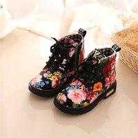 2018 Новый 1 пара обувь модная одежда для девочек цветочный обувь для детей детские ботинки Martin бороться Цвет Повседневное Детские ботинки Пр...