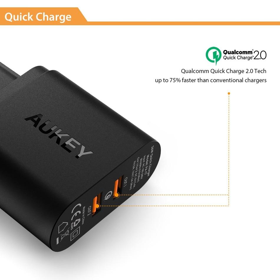 Aukey 36 Вт 2 Порты и разъёмы USB Зарядное устройство Quick Зарядное устройство 2.0 Путешествие стены Зарядное устройство адаптер для iphone8 X/7/ 6 s Xiaomi ...