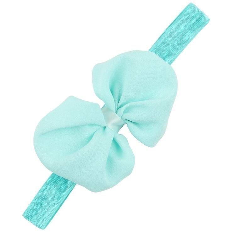 Детская повязка на голову, лента ручной работы, аксессуары для волос для малышей, новорожденных девочек, повязка с бантом Тюрбан-тиара - Цвет: Небесно-голубой