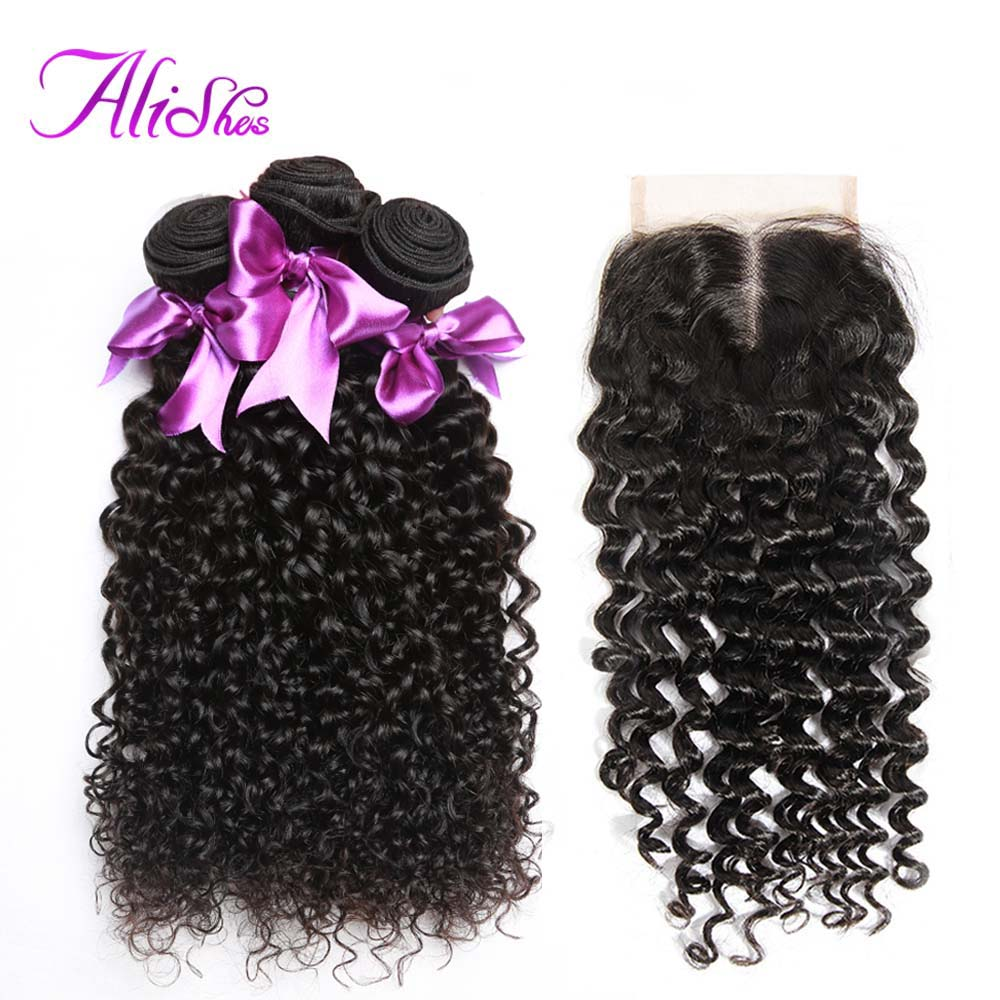 Alishes Hair Curly Bundles With Closure 100 Human Hair Weave Bundles With Closure Malaysian Hair 3