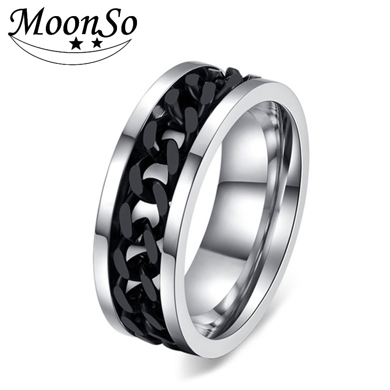 The Cheapest Price Zorcvens Fashion Spinner Black Chain Ring For Men Stainless Steel Wedding Mens Ring Wholesale Cool Jewelry Elegant Shape Jewelry & Accessories