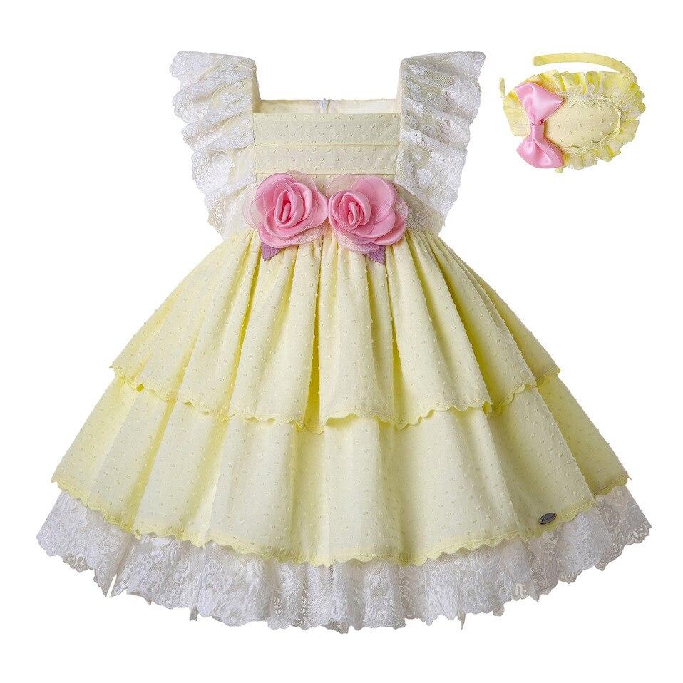 Pettigirl Ligth Yellow Dress Girl Princess Lace Sleeve Summer Dress Wholesale Kids Clothes Headband Dropshipping G