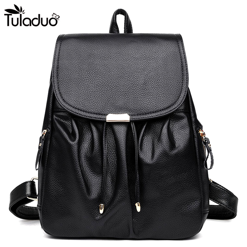 Women Side Silt Pocket String Closer Backpacks Hasp School Bags For Teenagers Casual Travel Computer Laptop Bag Black Red