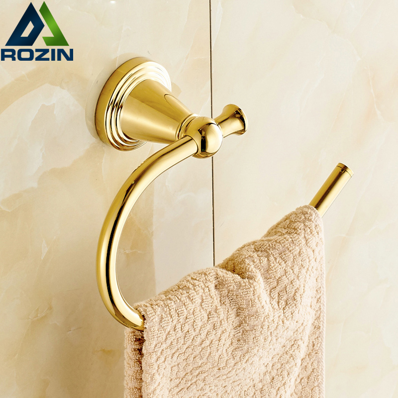 Wholesale And Retail Free Shipping Brass Bathroom Bath Towel Ring Holder Golden Color free shipping wholesale and retail marble