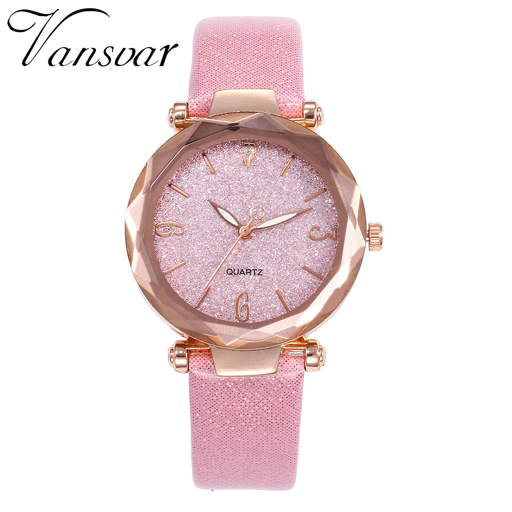 Vansvar Women's Casual Quartz Leather Band Starry Sky Watch Analog Wrist Watch Ladies Fashion Watches Clock relogio feminino A10 1
