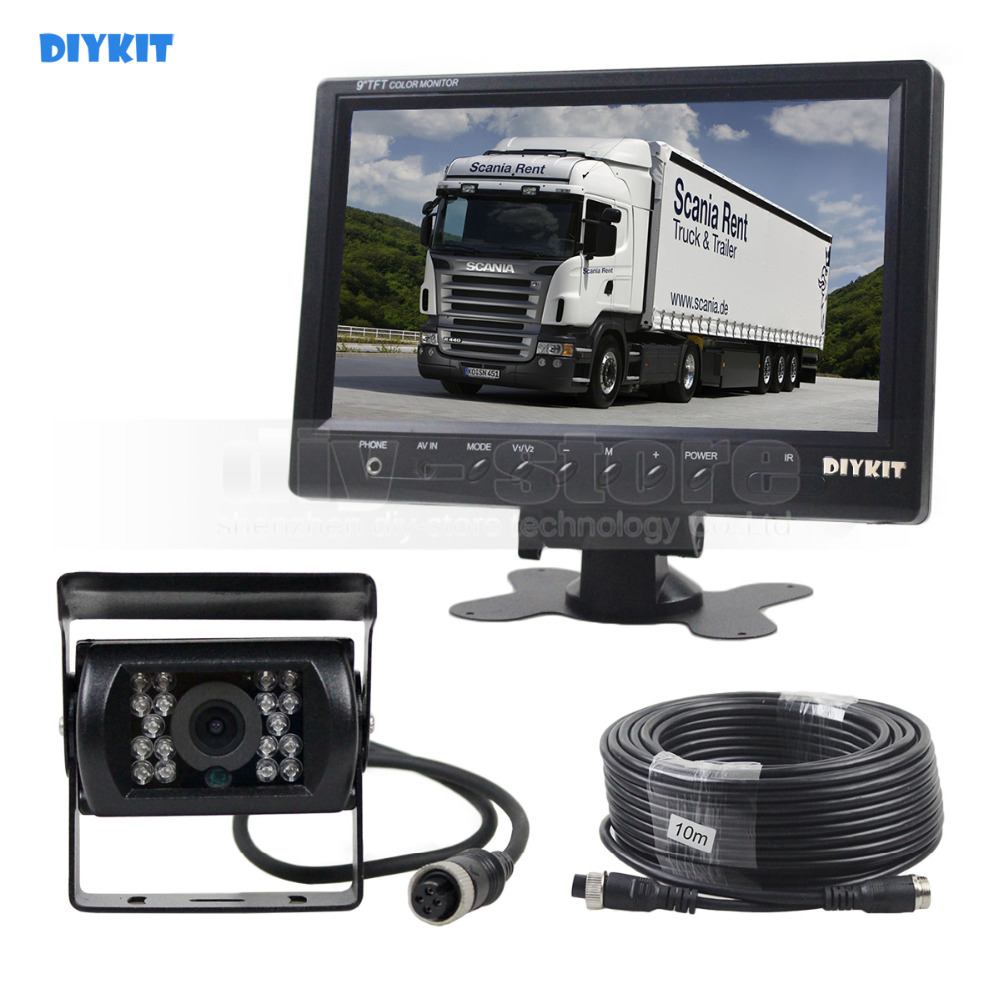 DIYKIT Wired 9inch Car Monitor Rear View Monitor Waterproof IR CCD Camera Parking Accessories for Bus Horse Trailer Motorhome