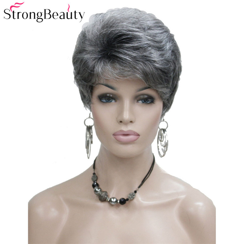 StrongBeauty Synthetic Short Wavy Hair Puffy Natural Blonde/Silver Grey Wigs With Bangs For Women Many Color For Choose
