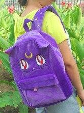 Японский стиль Harajuku школьные сумки для девочек сладкие девочки фиолетовый Luna Cat bagsailor Moon Смешанный хлопок рюкзак