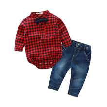[Lucky& Lucky] baby boys clothing set plaid rompers with bowtie + demin pants fashion baby boy clothes newborn baby clothes