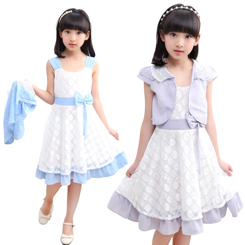Summer hot children s clothing girls lace pearl shawl hollow dots bow dress two sets of