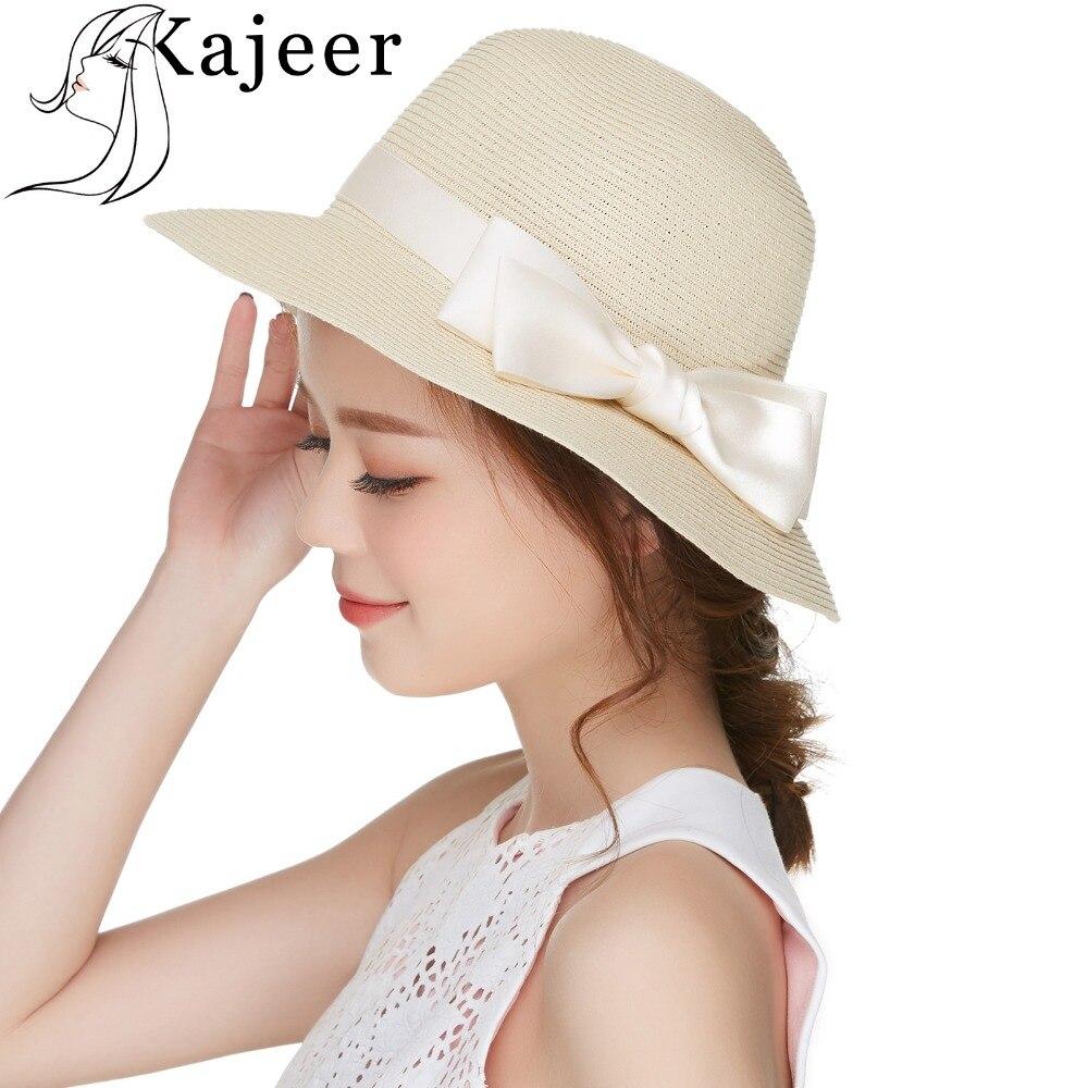 030894084edc3 Kajeer Women s Summer Anti-UV Sun Hats Roll Up Floppy Beach Hat With Ribbon  Bow