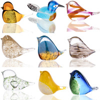 H & d 9 estilos de vidro soprado paperweight pássaro artesanato original artesanal fantasia collectibles presentes para decoração do escritório casamento Estatuetas e miniaturas     -