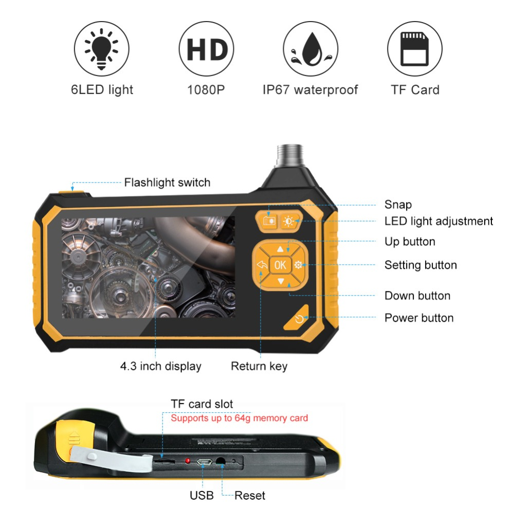 Profession Industrial Endoscope Digital Semi-Rigid Borescope 4.3inch LCD Snake Camera 1080PHD Video Waterproof Inspection Camera