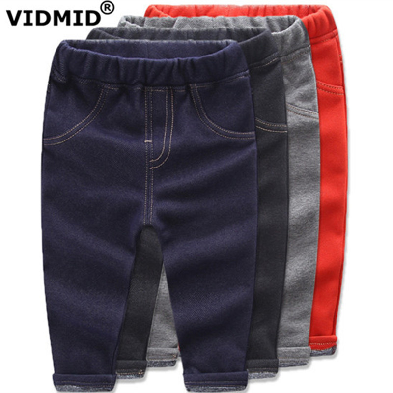 VIDMID Children Jeans Boys girls Denim trousers Baby Girl thick pants kids clothing baby boy thick fleece for winter 4008 01