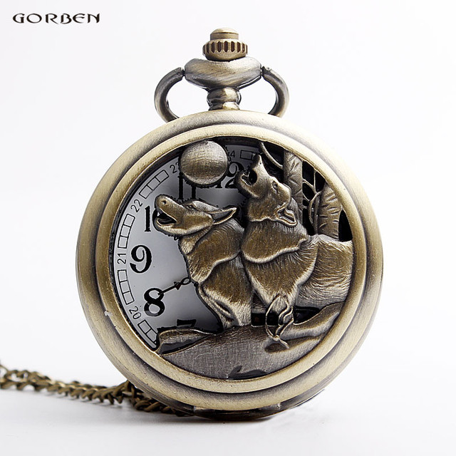 Vintage Bronze Hollow Howling Wolf Head Dog Pocket Watch For Men Women Necklace