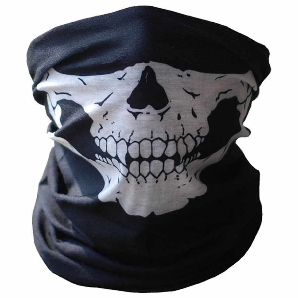 KAKUDER Motorcycle Face Mask 2019 Halloween Bicycle Ski Skull Half Face Mask Ghost Scarf Multi Use Neck Warmer COD Cycling Mask