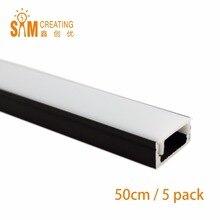5 pièces, ultra mince à encastrer, 0.5M, sans bride, noir, à utiliser pour bande de 12mm, profil LED aluminium lumières, barre de Led M