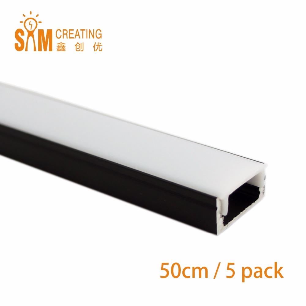 5pcs 0,5 M Nero Super Slim da incasso a LED Profilo in alluminio senza flangia Usando per Strip entro 12mm Led Bar Lights con coperchio