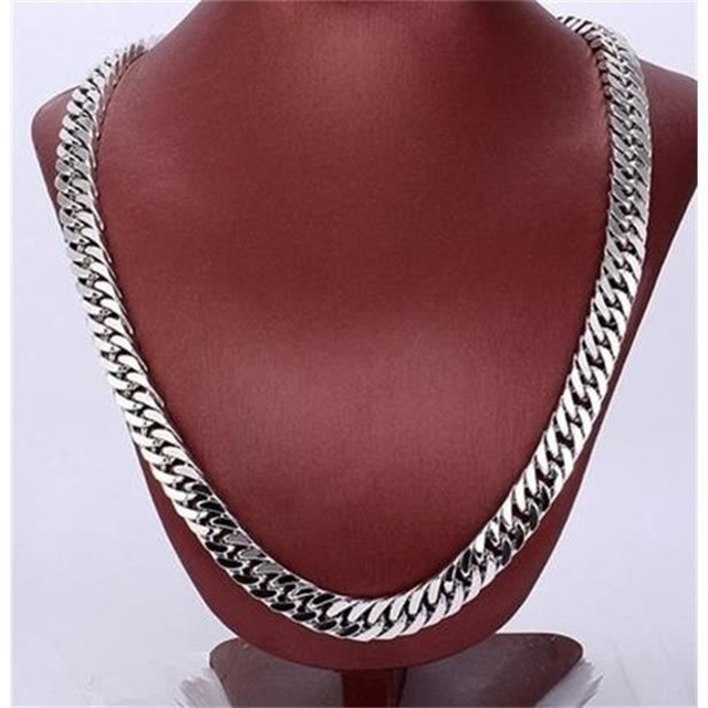 Male Necklace Long/Choker Vintage Chunky Heavy Chain Gold Filled Chain Double Curb Chain For Men 24 In,10mm Wide