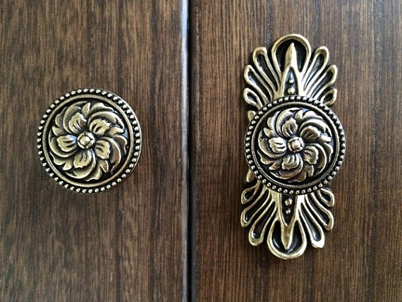 Vintage Style Dresser Knob Drawer Knobs Pulls Handles Antique Bronze Kitchen Cabinet Door Pull Ornate Back Plate In From Home