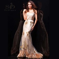Prom Dress 2016 SoDigne With Delicate Flowers Beaded One Shoulder Mermaid Evening Party Sweetheart Sparkly High