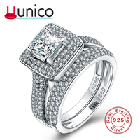 UUNICO 2018 HOT SELL 100% Genuine for Women Jewelry 925 Sterling Silver Ring Forever Clear white zricon Circle Round Finger Rin