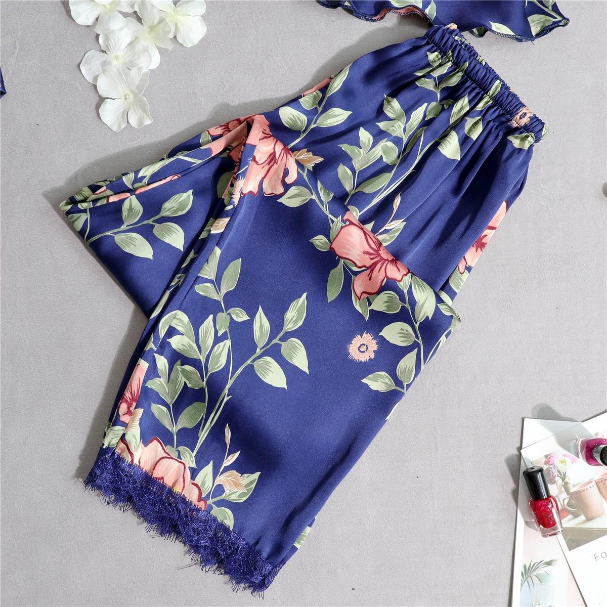 Женские штаны для сна, летние тонкие кружевные домашние штаны с девятью точками, повседневные штаны, шелковые домашние штаны для родителей