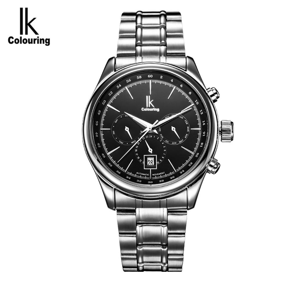 2017 IK Casual Watch 2017 Mens Day/Week/24Hours Watches Auto Mechanical Wristwatch with Original Box Free Ship