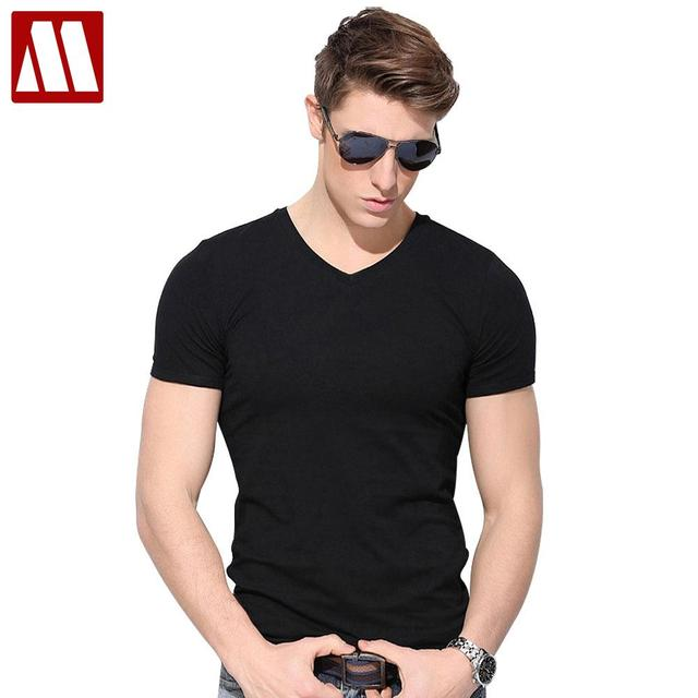 551ab3933ba0 2018 New style mens short sleeve summer t shirt slim fit cotton V collar t  shirts for men Big size to 4XL 5XL men s fitness Tees