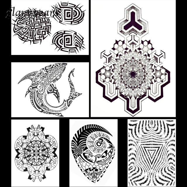 6 Pieces Symbol Pattern Design Fashion Tattoo Sticker Henna Back
