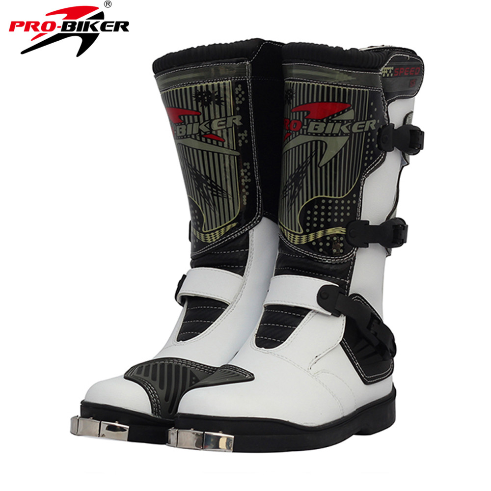 PRO-BIKER PU Leather Motorcycle Motocross Racing Long Boots Shoes Motocross Off- Road Riding Motorbike Shoes for Men and Women