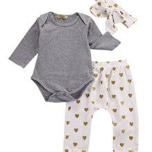 3 предмета, осенний комплект одежды для маленьких мальчиков, хлопковая футболка+ штаны+ повязка на голову, 3 предмета, Одежда для младенцев, комплект одежды для новорожденных