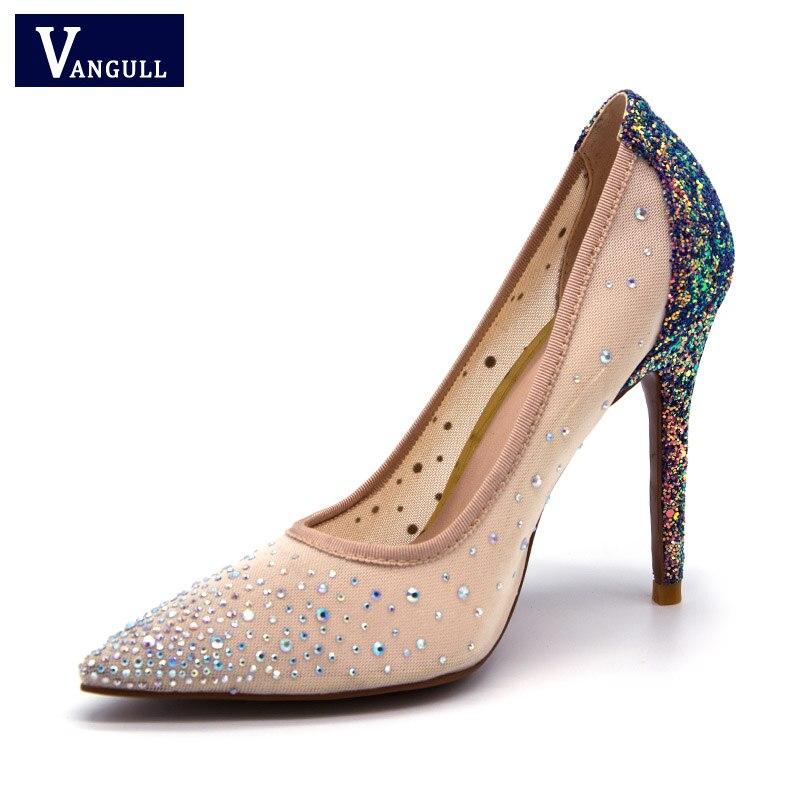Extrem Vangull Bombas Mulheres Sexy sapatos de Salto Alto Mulheres Sapatos de Salto Alto Saltos Finos Sapatos Femininos Sapatos de Casamento cor Deslumbramento Sapatas Das Senhoras De Cristal