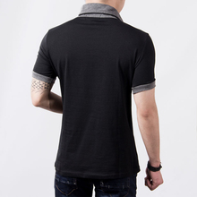 New Plus Size Summer Mens T-Shirts Fashion 2016 Slim Short Sleeve Patchwork V Neck Cotton Black T Shirt Men Button Tops & Tees