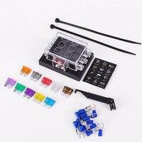 6 Way ATC ATO Auto Blade Fuse Box Holder Sticker 4 Pcs Medium Fuse Fuse Puller
