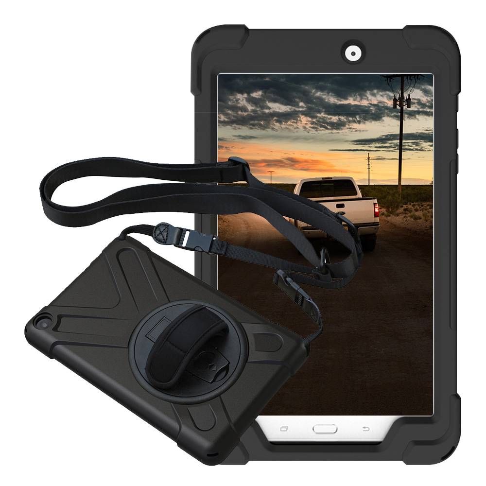 Case-Cover Hard-Case Tablet Shoulder-Strap Kickstand Tab-E Galaxy Samsung SM-T375 Silicone