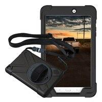 Pour Samsung Galaxy Tab E 8.0 SM-T375 T377P/V Pirate housse étui tablette Silicone + PC béquille étui rigide avec poignet + bandoulière