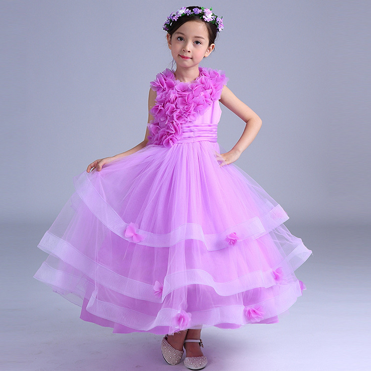 (With Garland) summer Lace girl tutu dress wedding evening party dress Vintage Flower tulle frock Princess dress child clothes