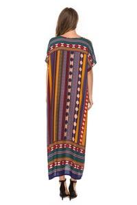 Image 4 - Muslim Womens Nightgown Plus Size V neck Sleepwear Short Sleeve Nightdress Home Dress Fashion Nightwear XXL Big Size Nightshirt