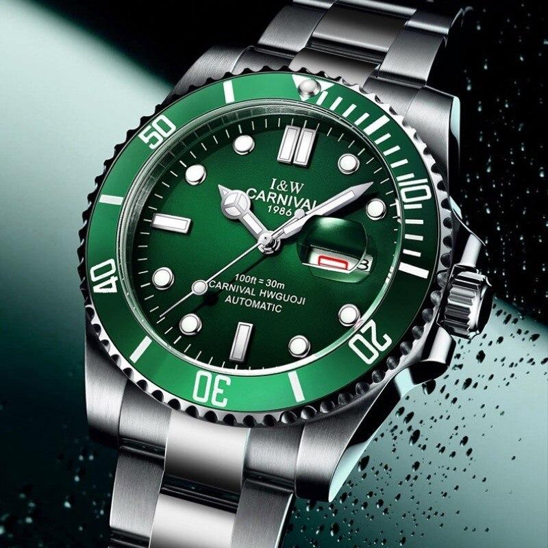 High end Sport watch Water Ghost Series CARNIVAL Swimming Automatic Watch Men Calendar Sapphire Luminous Mechanical
