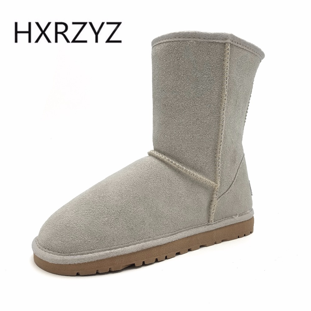 HXRZYZ winter snow boots women large size suede keep warm genuine leather boots female rubber soles anti skid platform shoes fawn warm women s snow boots ming blue size 37