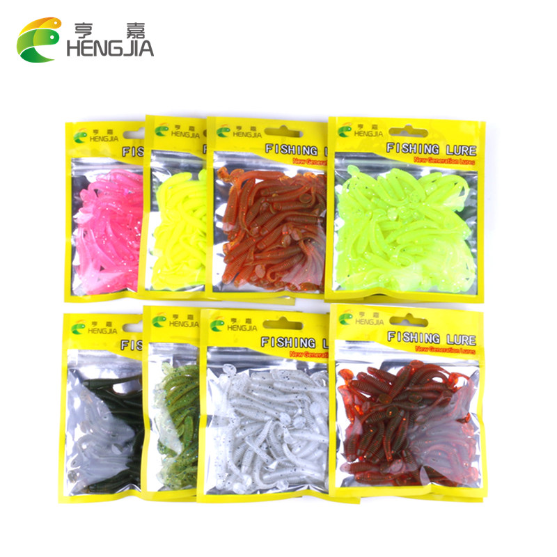 Hengjia 50pcs isca Artificial soft fishing lure T fish Worm shad lure Swim bait blackfish culter Striped bass fishing tackle 50pcs new wifreo soft lure loader locker connector fishing worm hook bait accessories for bass fishing wholesale