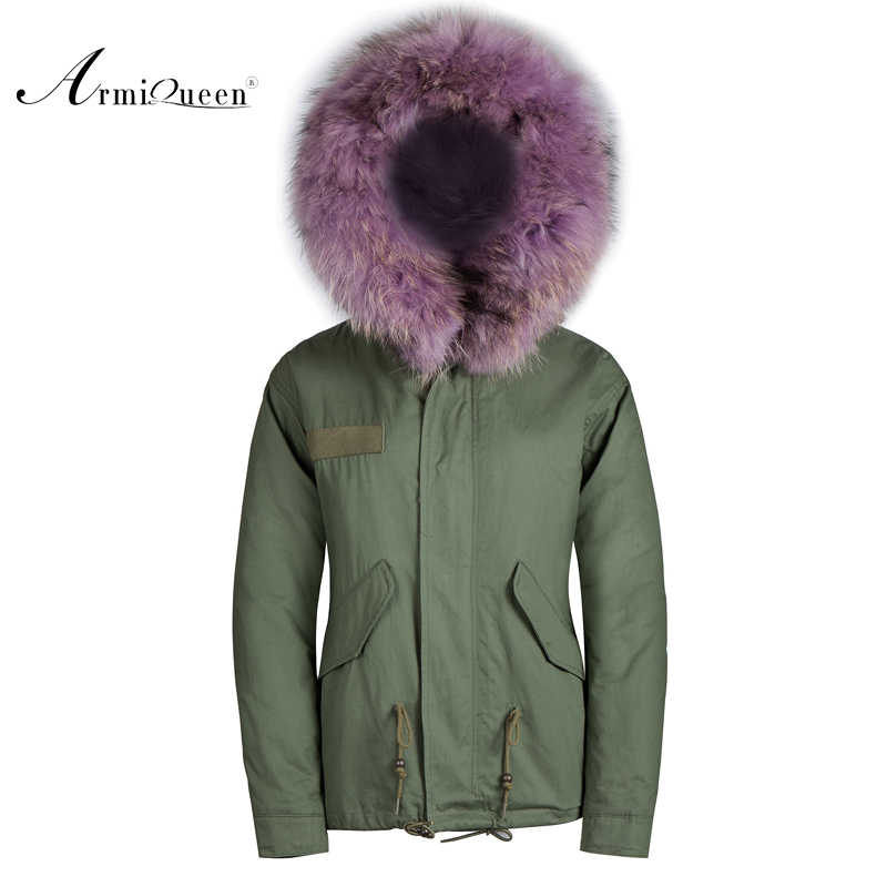 Faux fur coats for women Jacket with removeable Purple real raccoon fur collar free shipping