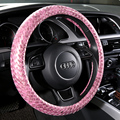 Personalized Hand Woven Glitter Automobile Steering Wheel Covers PU Leather Anti-skid Knitting Steering Wheel Cover