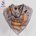 BYSIFA  Brand Grey Letters Cartoon Square Scarves Wraps Fashion Accessories Female Pure Silk Square Neck Scarves Cape 90*90cm