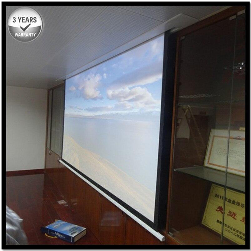 E6VWA 4:3 Mat Blanc Reccessed Dans-Plafond Motorisé Rétractable Projecteur Écran avec plusieurs contrôles pour la maison intelligente