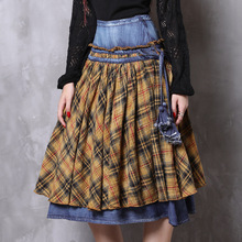 Sweet lady brand ladies clothing 2019 spring and summer autumn new denim big swing skirt cotton linen check color