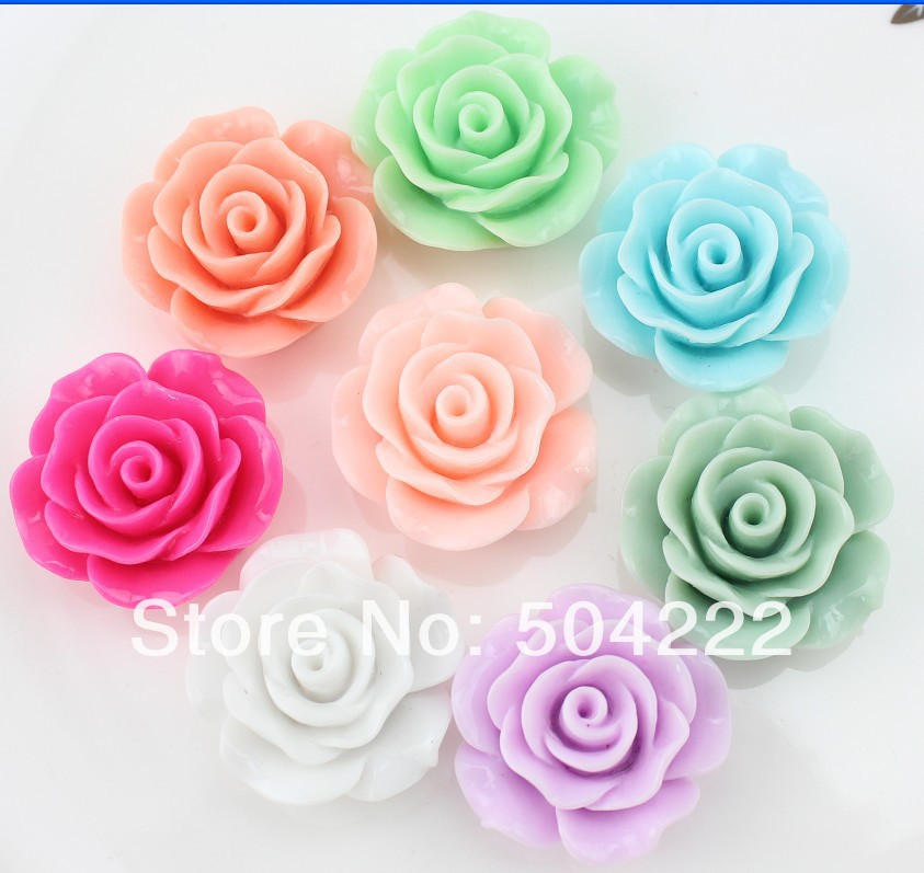 80pcs large Flatback Resin plished rose flower assorted Cabs 28mm DIY, scrapbook, hair bow cell phone